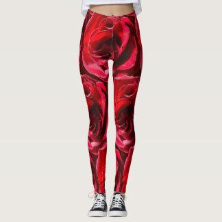 Red Rose Leggings by DelynnAddams