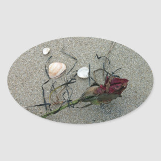 Red Rose Lost at Sea Oval Sticker