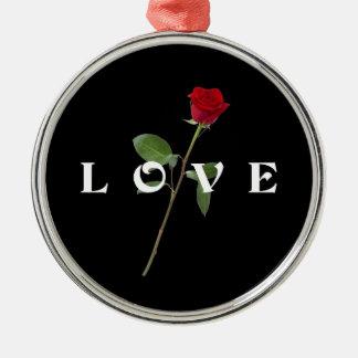 Red Rose Love Metal Ornament
