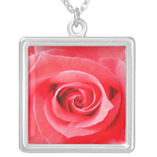 Red rose macro photo silver plated necklace