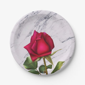 Red Rose Marble Modern Glam Bridal Shower Party Paper Plate