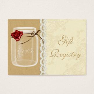 red rose mason jar Gift registry  Cards