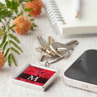 Red Rose Monogram Silver-Colored Square Keychain
