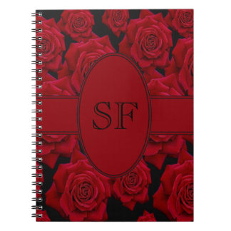 Red Rose Monogram Spiral Notebook