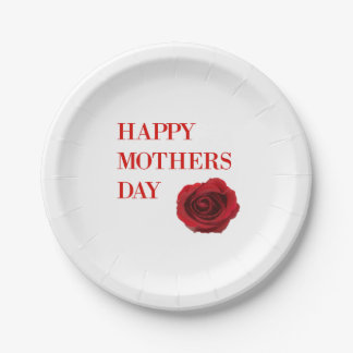 Red Rose Mothers Day Paper Plate
