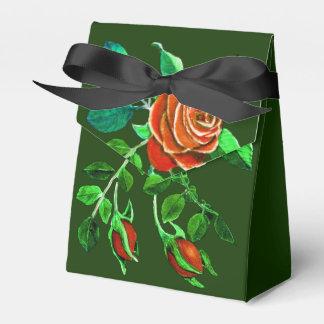 Red Rose Motif on Hunter Green Favor Box