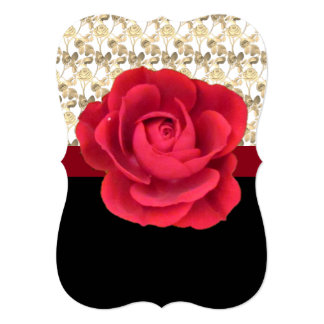 Red Rose Motif with Gold Lace on a Card