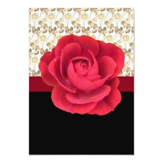 Red Rose Motif with White Gold Lace on a Card