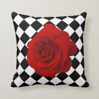Red Rose on Black and White Diamond Pattern Throw Pillow