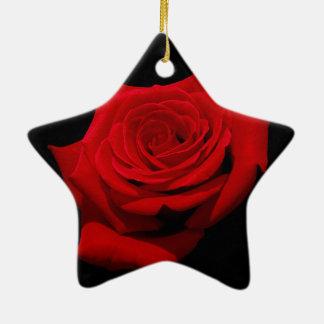 Red Rose on Black Background Ceramic Ornament