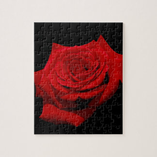 Red Rose on Black Background Jigsaw Puzzle