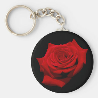 Red Rose on Black Background Keychain