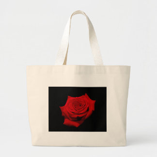 Red Rose on Black Background Large Tote Bag