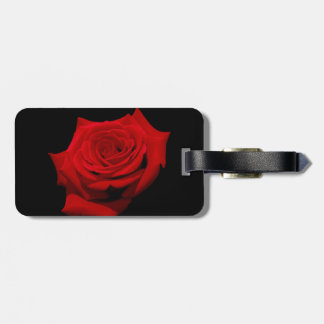 Red Rose on Black Background Luggage Tag