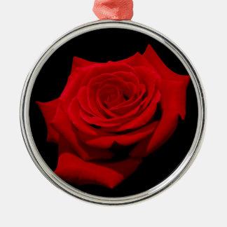 Red Rose on Black Background Metal Ornament