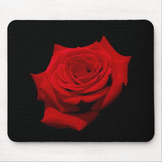 Red Rose on Black Background Mouse Pad
