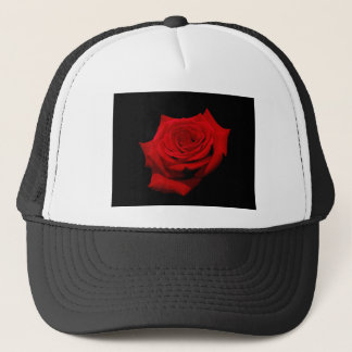 Red Rose on Black Background Trucker Hat
