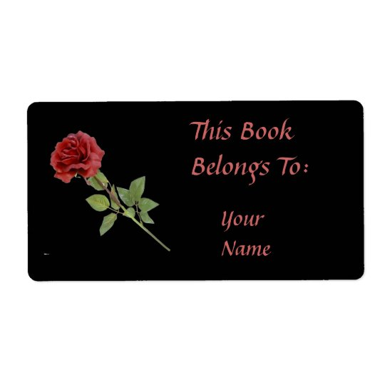 Red Rose on Black Bookplate