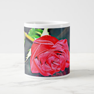 Red Rose On Black Coffee Cup