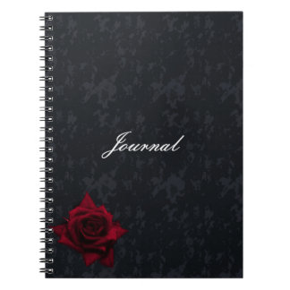 Red Rose on Black Goth Notebook