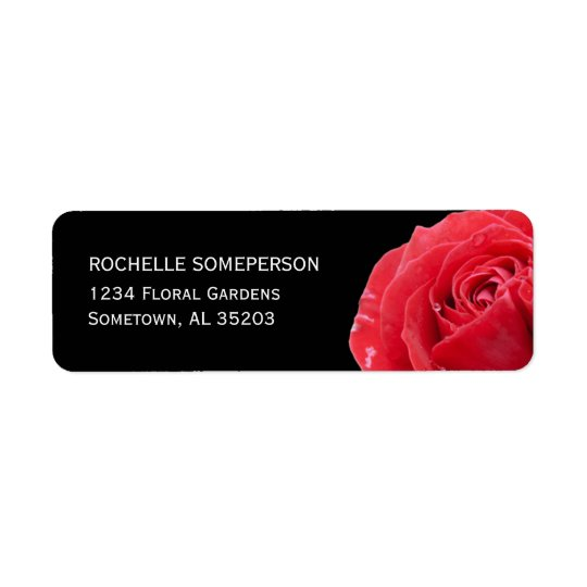 Red Rose on Black Return Address Label