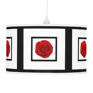 Red rose on black white (ceiling) hanging pendant lamps