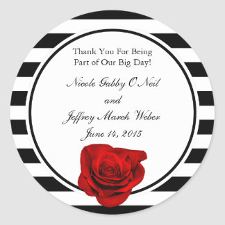 Red Rose on Black & White Stripes Wedding Classic Round Sticker