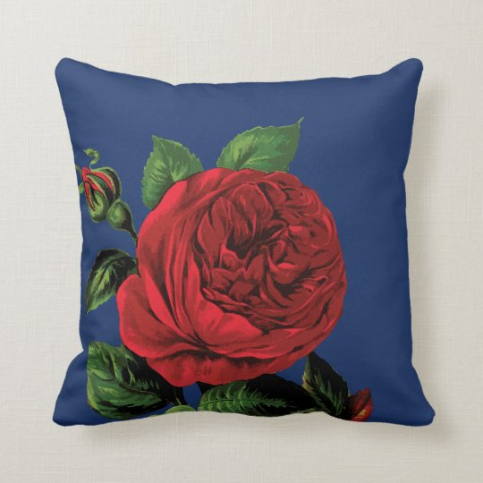 Red Rose on Blue Throw Pillow