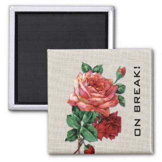 Red Rose On Break Flower Fridge Magnet