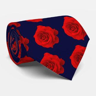Red Rose on Dark Navy Blue Tie