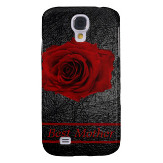 Red Rose on faux leather for Mother Galaxy S4 Case