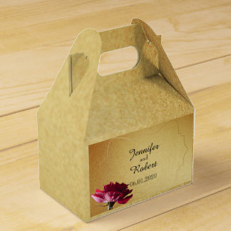 Red Rose on Gold Wedding Favour Box Party Favor Box