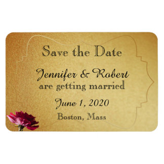 Red Rose on Gold Wedding Save the Date Rectangular Photo Magnet