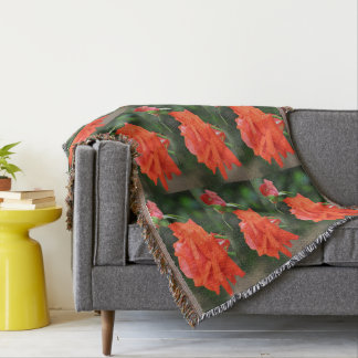 Red Rose on Green Custom Throw Blanket