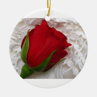 red rose on lace round ornament