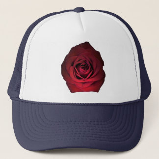Red Rose on Navy Blue Trucker Hat