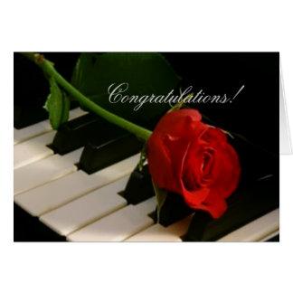 Red Rose on Piano Keys-Bravissimo! Card