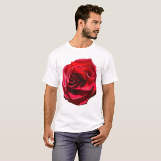 Red Rose on White Shirt