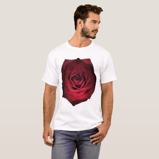 Red Rose on white T-Shirt