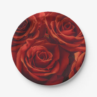 Red Rose Paper Plate