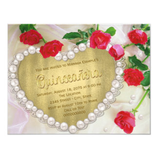 "Red Rose Pearl Heart Quinceañera 4.25"" X 5.5"" Invitation Card"