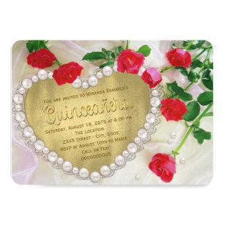 "Red Rose Pearl Heart Quinceañera 4.5"" X 6.25"" Invitation Card"