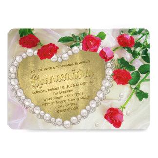 "Red Rose Pearl Heart Quinceañera 5"" X 7"" Invitation Card"
