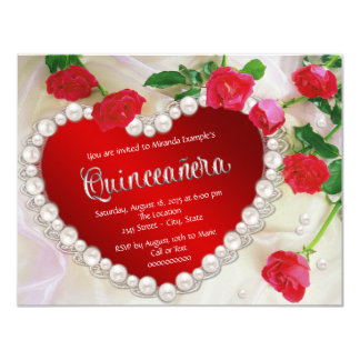 "Red Rose Pearl Quinceañera 4.25"" X 5.5"" Invitation Card"