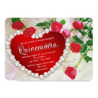 "Red Rose Pearl Quinceañera 5"" X 7"" Invitation Card"