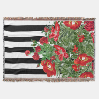 Red Rose Peony Flower Floral Stripes Throw Blanket