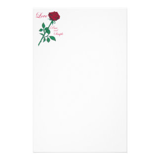 Red Rose Personalized Stationery