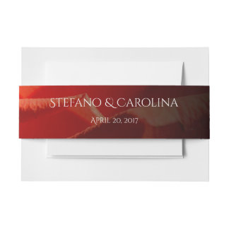 Red Rose petals invitation belly band
