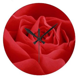 Red Rose Petals Large Clock