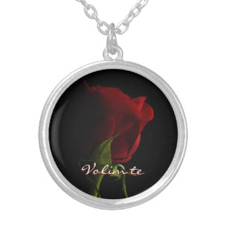 Red Rose Photo Necklace-Volim te Silver Plated Necklace
